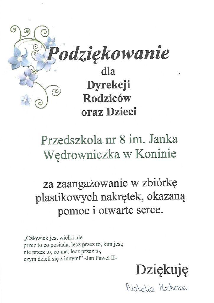 Fantastyczny Podziękowania - Przedszkole Nr 8 im. Janka Wędrowniczka w Koninie PB83
