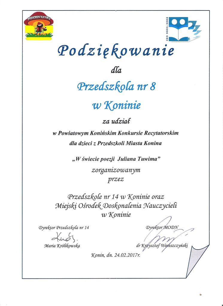 Bardzo dobra Podziękowania - Przedszkole Nr 8 im. Janka Wędrowniczka w Koninie LH15